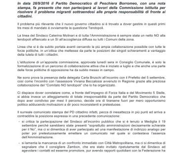 COMUNICATO STAMPA:  29/9/2016 – Il PD di Peschiera Borromeo si sottrae alle proprie responsabilità