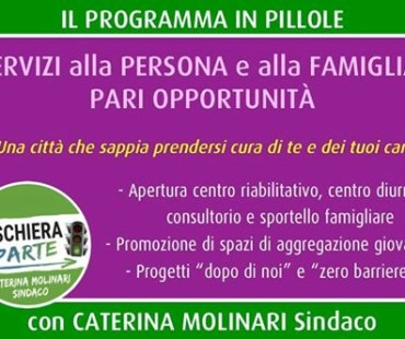 Il nostro programma in pillole: servizi alla persona e alla famiglia e pari opportunità