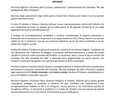 COMUNICATO STAMPA: 31/10/2016 – Peschiera Riparte e Peschiera Bene Comune a sostegno del Sindaco Caterina Molinari